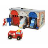 Játék garázs autókkal, nyitható ajtóval, kulcsokkal a zárakhoz - Melissa Doug 14580 (ME)