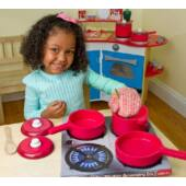 Játék edénykészlet fából - fa edények, játék konyhai kiegészítők - Melissa Doug 12610 (ME)