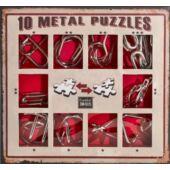 Fém ördöglakat logikai játék - 10db, PIROS (GE)