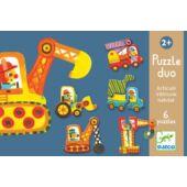 Puzzle duo - Járművek 2db-os puzzle mozgó elemekkel - Djeco 8170 (BO)