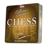 Klasszikus sakk játék fából, fém dobozban (Tactic)