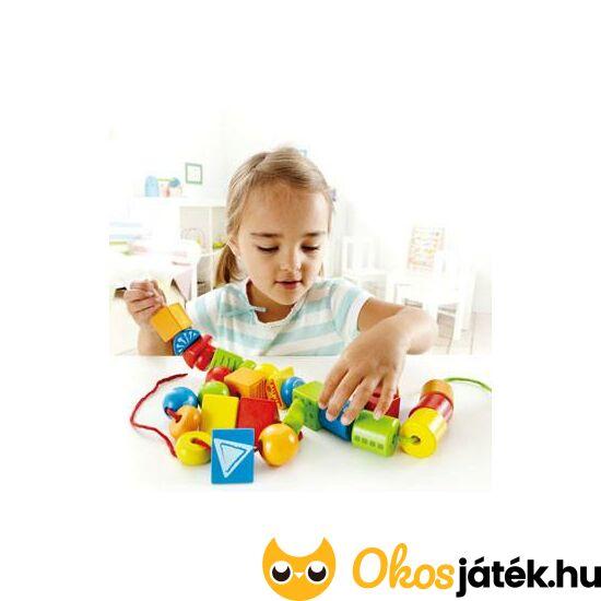 Hape fa gyöngyfűző játék - nagyszemű (nagy fűzhető formák) - String-along shapes 1019 (HO)