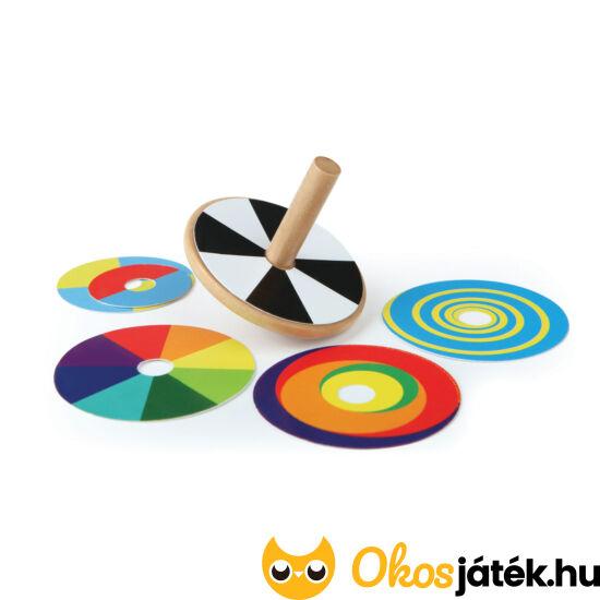 Színkeverő pörgettyű játék - HAPE E1031 minőségi fa pörgettyű (HO)