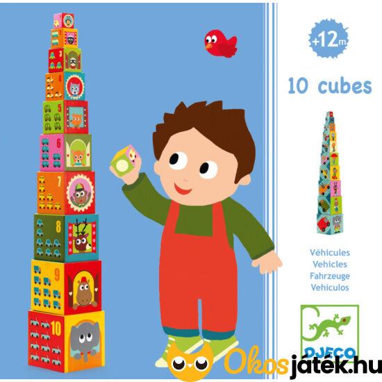 Toronyépítő kocka játék, fiús - Djeco 8508 (BO)