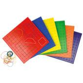 Geoboard játéktábla gumikkal 23cm (nagyobb) 120385 (többféle, választható színben) (ED)