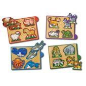 Formakereső játék készlet - állatos, fa formafelismerő puzzle - Melissa 14790 (ME)