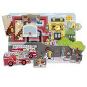 Tűzoltó állomás fogantyús, hangot adó formaillesztő játék - Melissa Doug 10736 (ME)