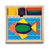 Formafelismerő fa kirakó, készségfejlesztő játék gyerekeknek Melissa Doug Beginner Pattern Blocks 10528 (ME)