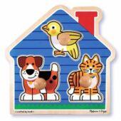Fogantyús fa puzzle - állatos formaberakó 1 éves gyerekeknek- Melissa Doug 12055 (ME)