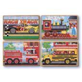 Fa kirakó, 4*12 darabos, autós, vonatos, tűzoltó autós - Melissa 13794