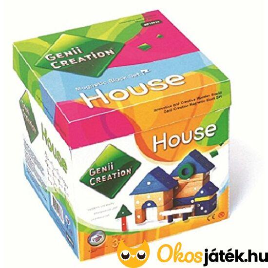 """Mágneses fa építőjáték """"Házépítés"""", KICSI kockadobozos - Genii Creation House 259-75"""