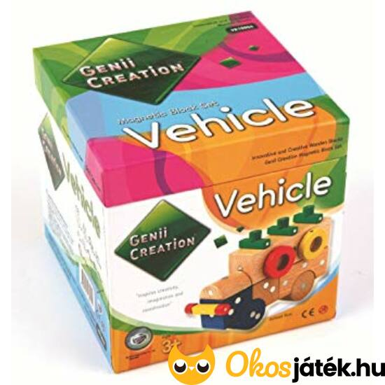 """Mágneses fa építőjáték """"járművek"""", KICSI kockadobozos - Genii Creation Vehicle 259-74"""