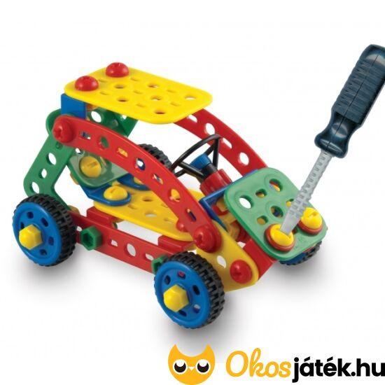 Quercetti Tecno Toolbox - csavaros építő játék csavarhúzóval, ládában, autós 6125 (KW)