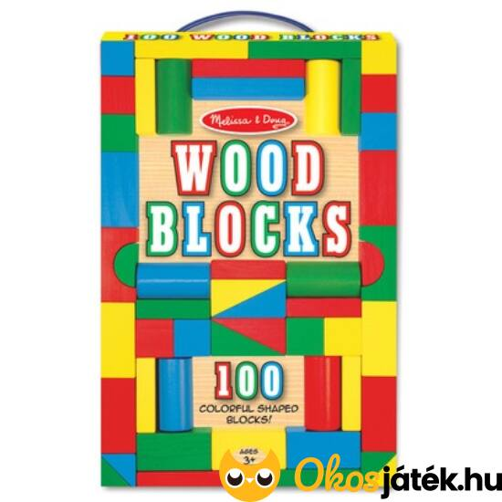 Fa építőkocka készlet (színes) 100db - Melissa Doug 10481 (ME-R1)