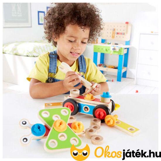 Autó építő - szerelős játék fiúknak fából HAPE3080 (HO)