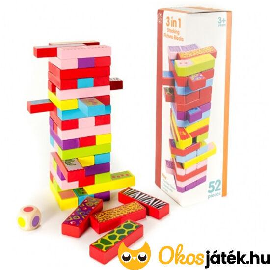 3 játék egyben : Jenga, dominó és memória