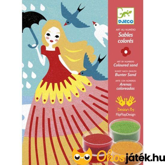 Homokszórós kép készítő kreatív játék - Lány esernyővel - Djeco 8659 (BO)