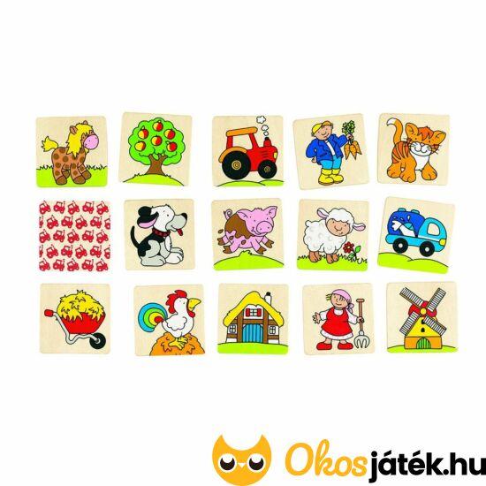 Memória játék fából 32db - A Farm - GO 56890