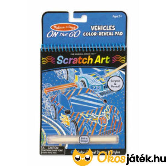 Scratch Art Kaparós  képkészitő - Kék, Járműves Melissa Doug 19141 (ME-K2)
