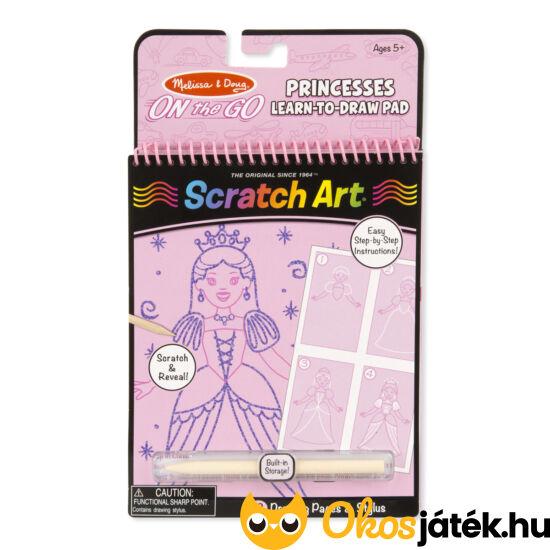 """Scratch Art Lépésről lépésre rajztanító - Rózsaszín, hercegnős Melissa Doug 19144 (ME-K2)""""Utolsó darabok"""""""