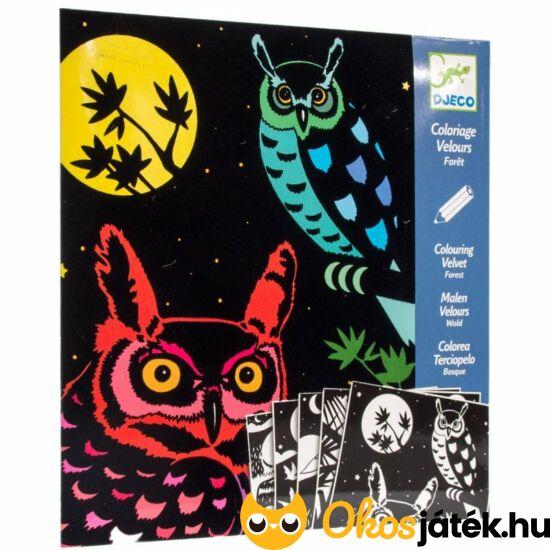 """Bársonyos színező - Az erdő  - Djeco DJ 9623 (BO) """"Utolsó darabok"""""""