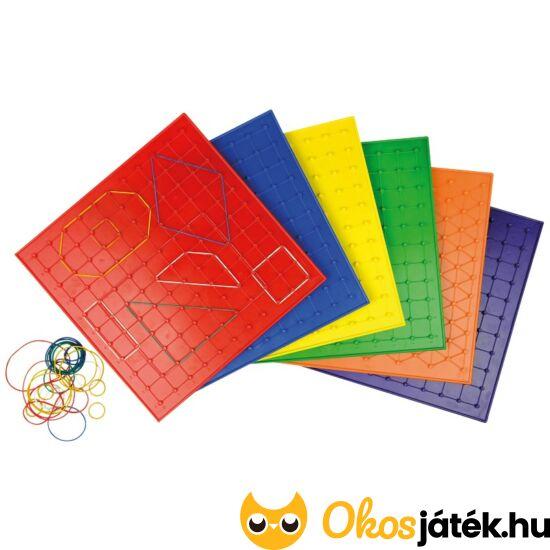 Geoboard játéktábla gumikkal 23cm - nagyobb - többféle, választható színben - ED 120385 - Piros