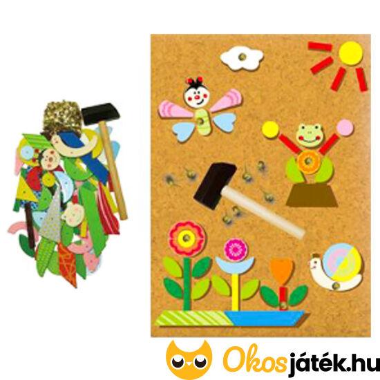 Kalapácsos, szöges játék - virágos, bogaras, békás mozaik kirakó (lányos) - 4463 (FA)