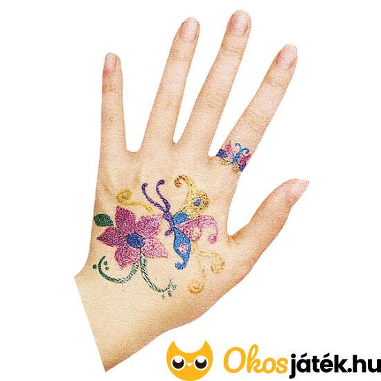 Csillám tetováló toll és sablon készlet gyerekeknek - 6db tollal - RE