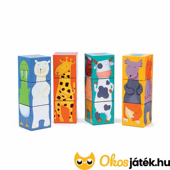 Állatos kocka kirakó, kocka puzzle játék - DJ 8208