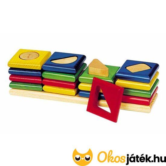 Goki minőségi fa montessori torony játék - formák - GO WM034