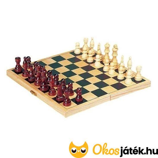 Sakk készlet fából, összehajtható, kisebb fa sakk készlet (Goki HS040) (HO)