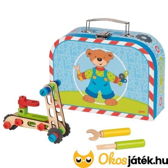 Jármű építőjáték bőröndben