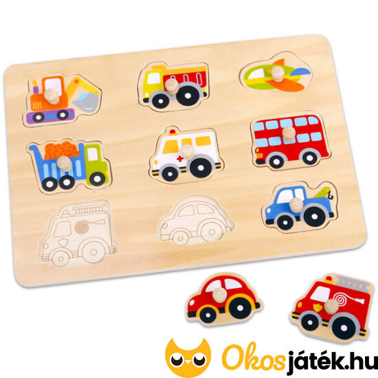 Járművek fa forma puzzle TKC262 (JN)