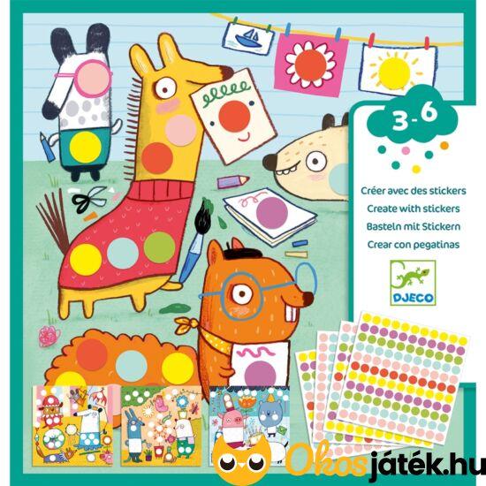 Matricás képkészítő öntapadós matricázós kreatív játék készlet gyerekeknek színes pöttyökkel