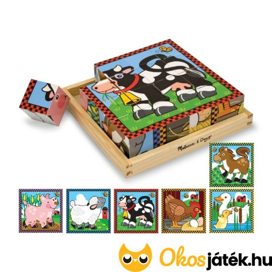 Fa kocka kirakó puzzle állatokkal