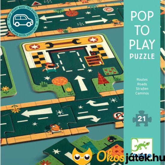 autópálya útépítő kirakó puzzle 21 darabos kisfiúnak
