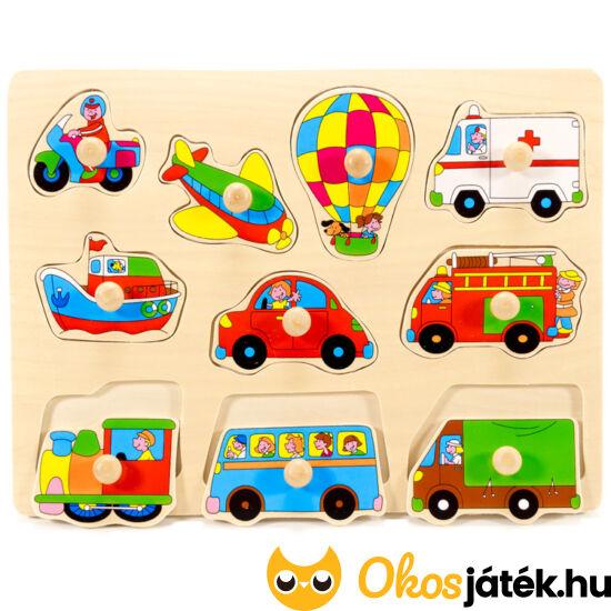 Járművek fogantyús fa forma puzzle - FA 0862