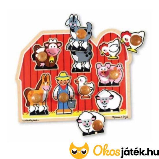 Fogantyús fa kirakó játék - Farm, háziállatos formák - Melissa Doug 13391 (ME)