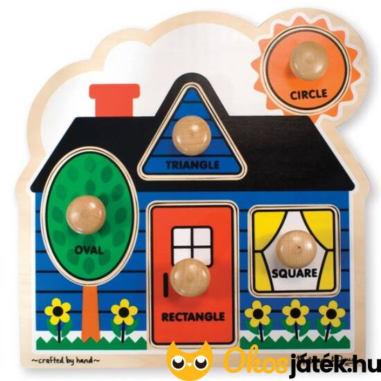 Fogantyús fa kirakó játék - Házikó, geometriai formák - Melissa Doug 12053 (ME)