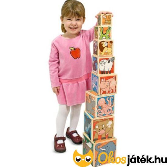 Fa toronyépítő játék - Melissa Doug fatorony, kockatorony 14207 (ME-R4)