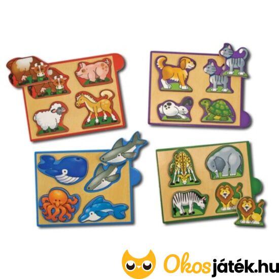 Formakereső játék készlet - állatos, fa formafelismerő puzzle - Melissa 14790 (ME-74)
