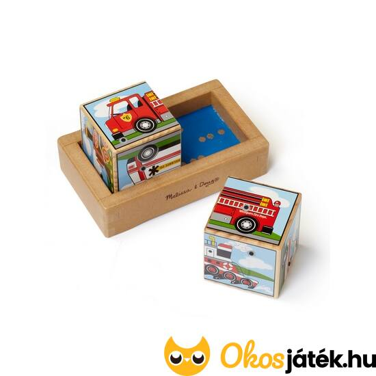 Hangot adó fa kocka kirakó, AUTÓS  2 darabos kocka puzzle - Melissa & Doug 11272 (ME-R1)