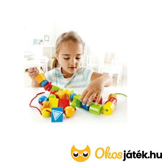Hape fa gyöngyfűző játék - nagyszemű (nagy fűzhető formák) - String-along shapes - HO E1019