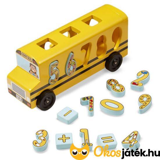 """""""Matek"""" busz játék fából - formaberakó és játékbusz egyben - Melissa 19398 (ME-82)"""