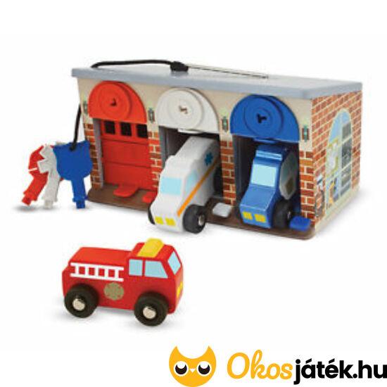 Játék garázs autókkal, nyitható ajtóval, kulcsokkal a zárakhoz - Melissa Doug 14607 (ME-R4)