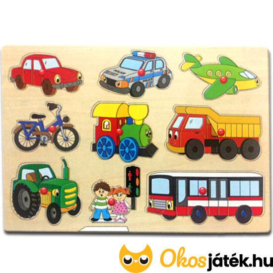 Járművek fogantyús fa forma puzzle - Woodyland