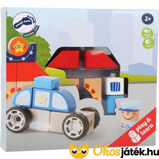 Szirénázó játék rendőrautó és építő játék fából - Legler 10623