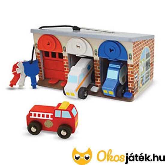 Játék garázs autókkal, nyitható ajtóval, kulcsokkal a zárakhoz - Melissa Doug 14607