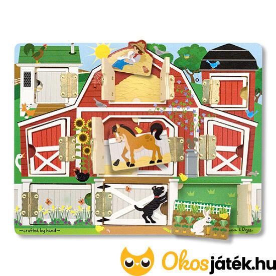 """Kukucska fa készségfejlesztő játék nyitható ajtókkal - a """"Farm"""", Melissa Doug 14592 (ME-R6)"""
