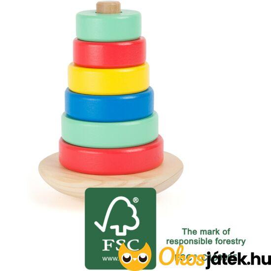 Montessori torony fából - karikatorony - LE 10946